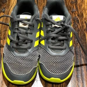Gray and Green Adidas Tennis Shoes
